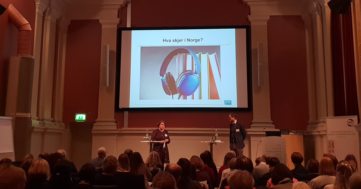 Photo of a presentation from the annual conference of the Swedish DAISY Consortium