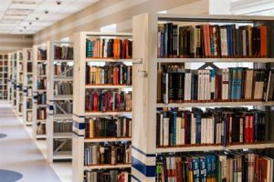 Photo of books shelves at a library