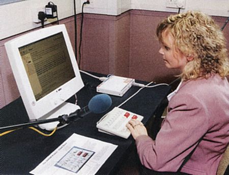 photograph of a volunteer reader recording using the Dream system