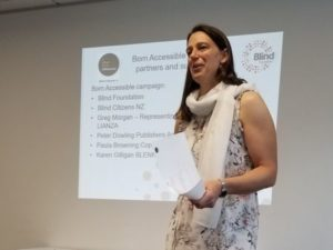 Photograph of Geraldine Lewis presenting at the workshop