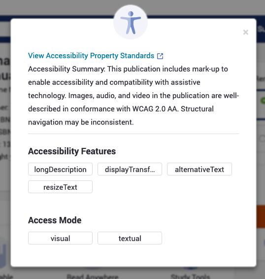 VitalSource Accessibility details window