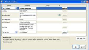 Metadata Editor dialog