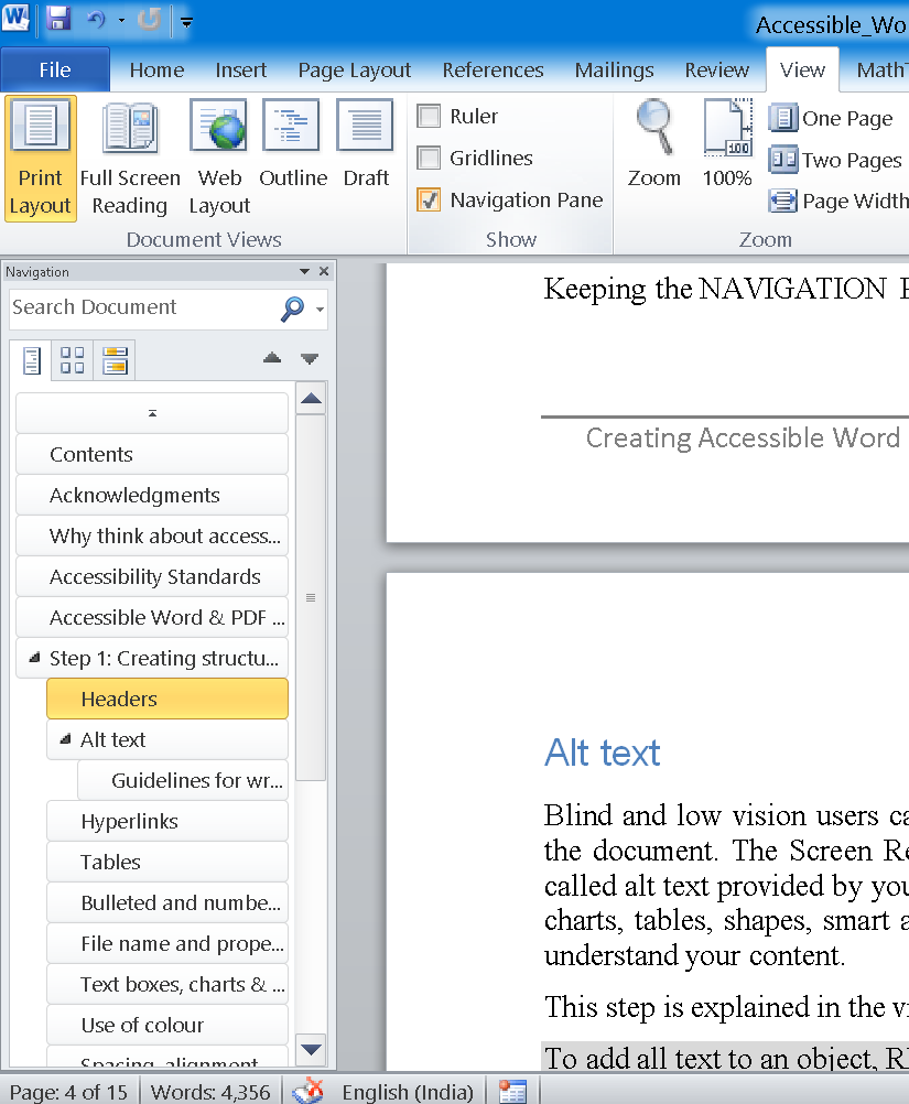 Navigation Pane in Microsoft Word