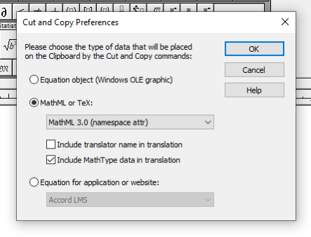 Screenshot of the MathType Cut and Copy Preferences dialog