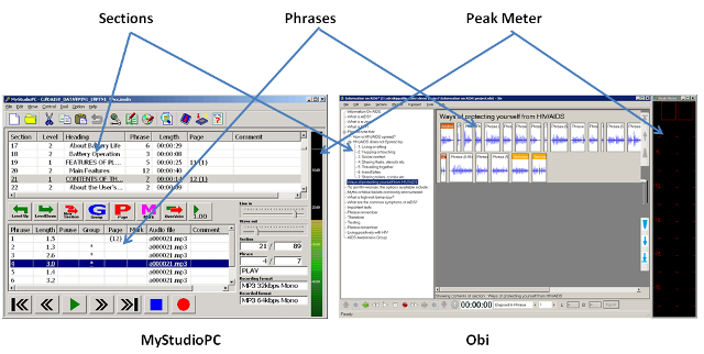 Picture showing the sections list and phrases in MyStudioPC and Obi