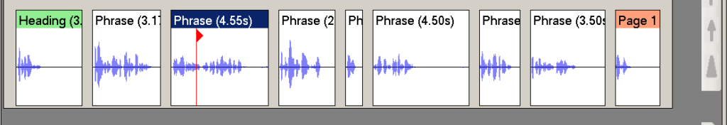 Picture showing phrases in Obi with audio cursor