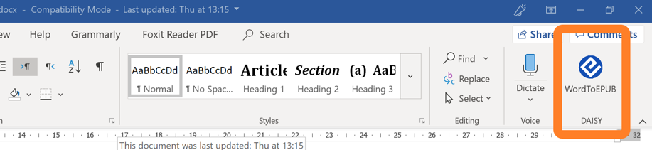 Screenshot of the Word ribbon showing the WordToEPUB button
