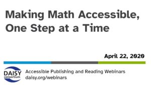 Making Math Accessible opening slide