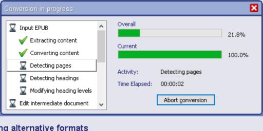 Conversion in progress window