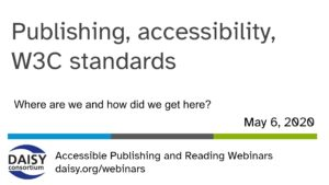 publishing, accessibility W3C standards title slide