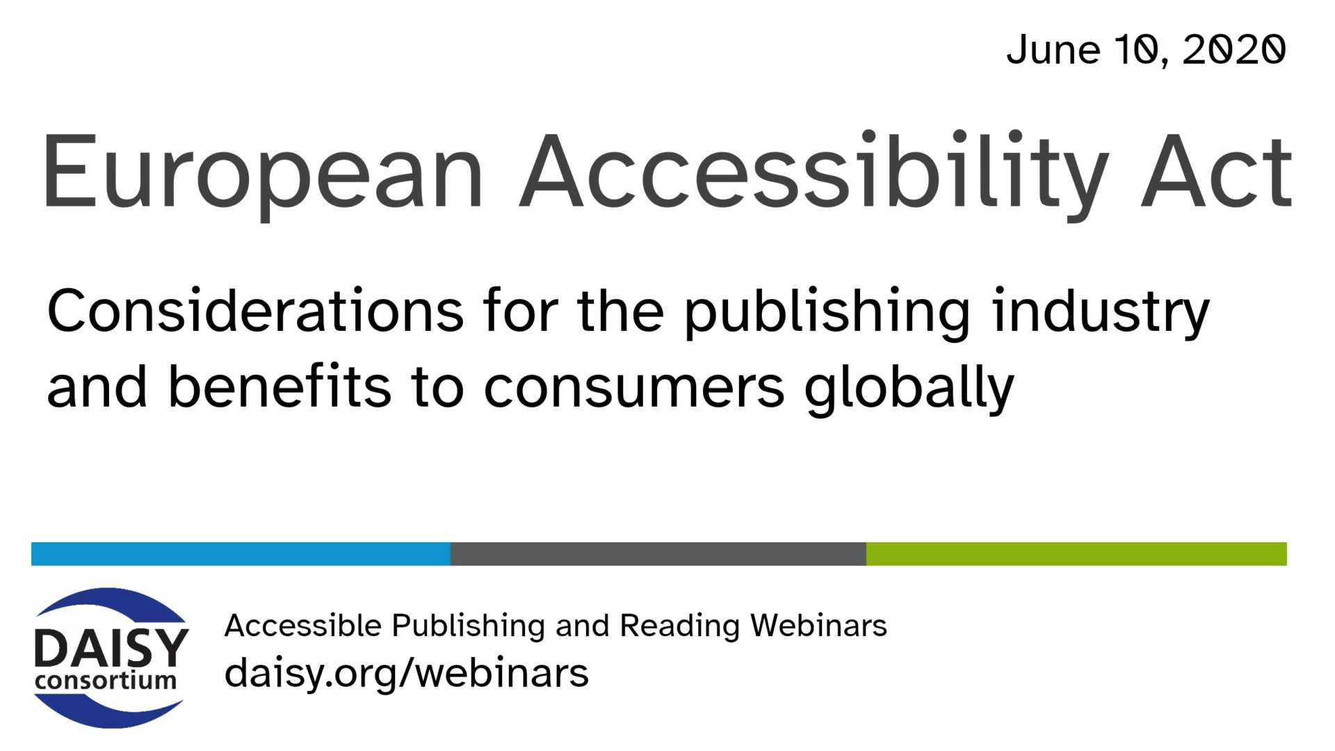 Opening slide for the EU Accessibility Act webinar