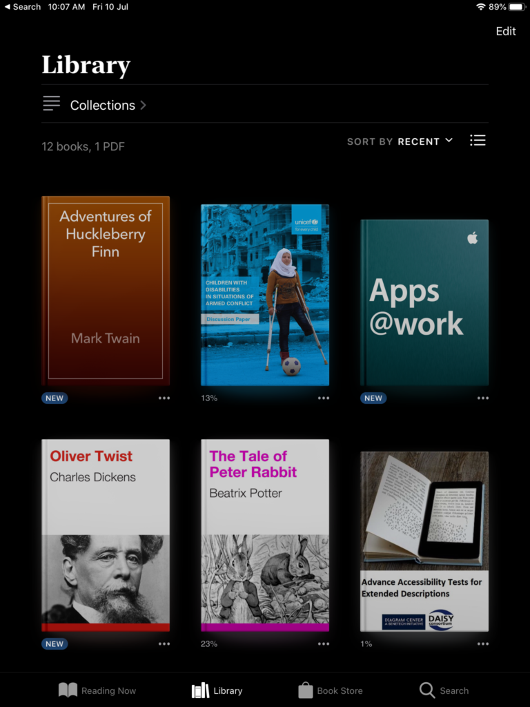 Books app library screen in night mode