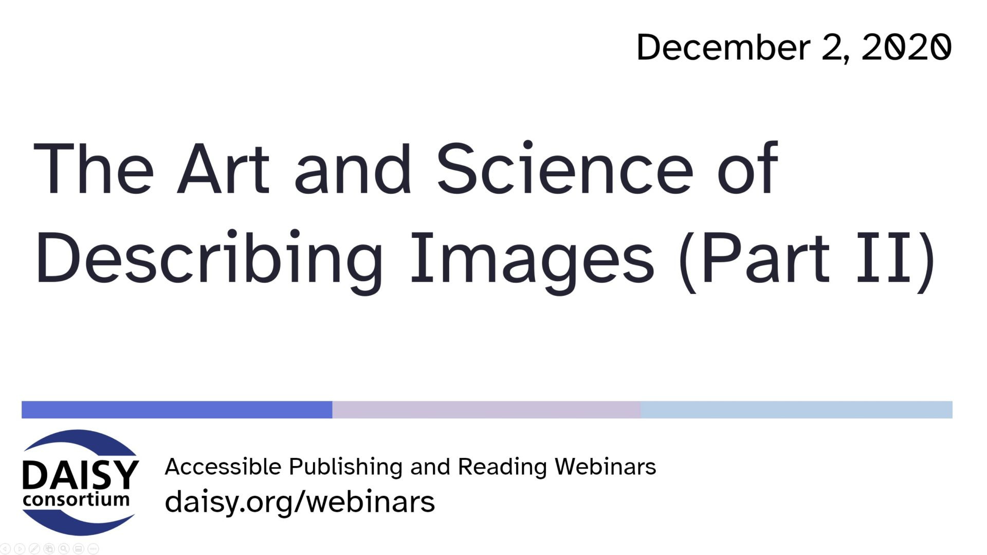 Art and Science of Describing Images Part Two opening slide