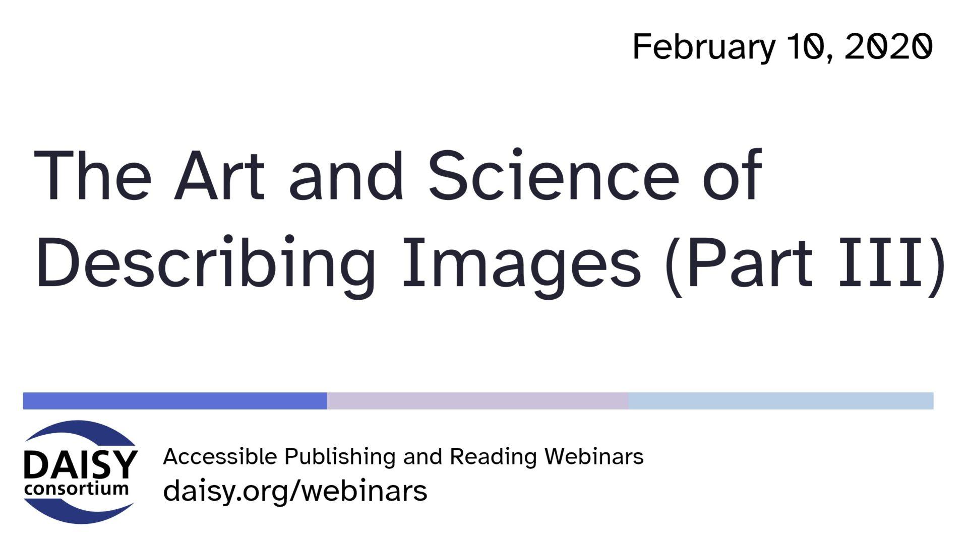 Art of Science of Describing Images part 3 cover slide