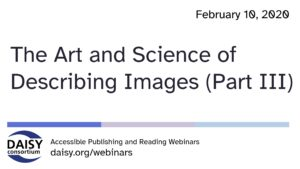 Art of Science of Describing Images part 3 cover slide
