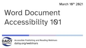 Word Document Accessibility 101 opening slide