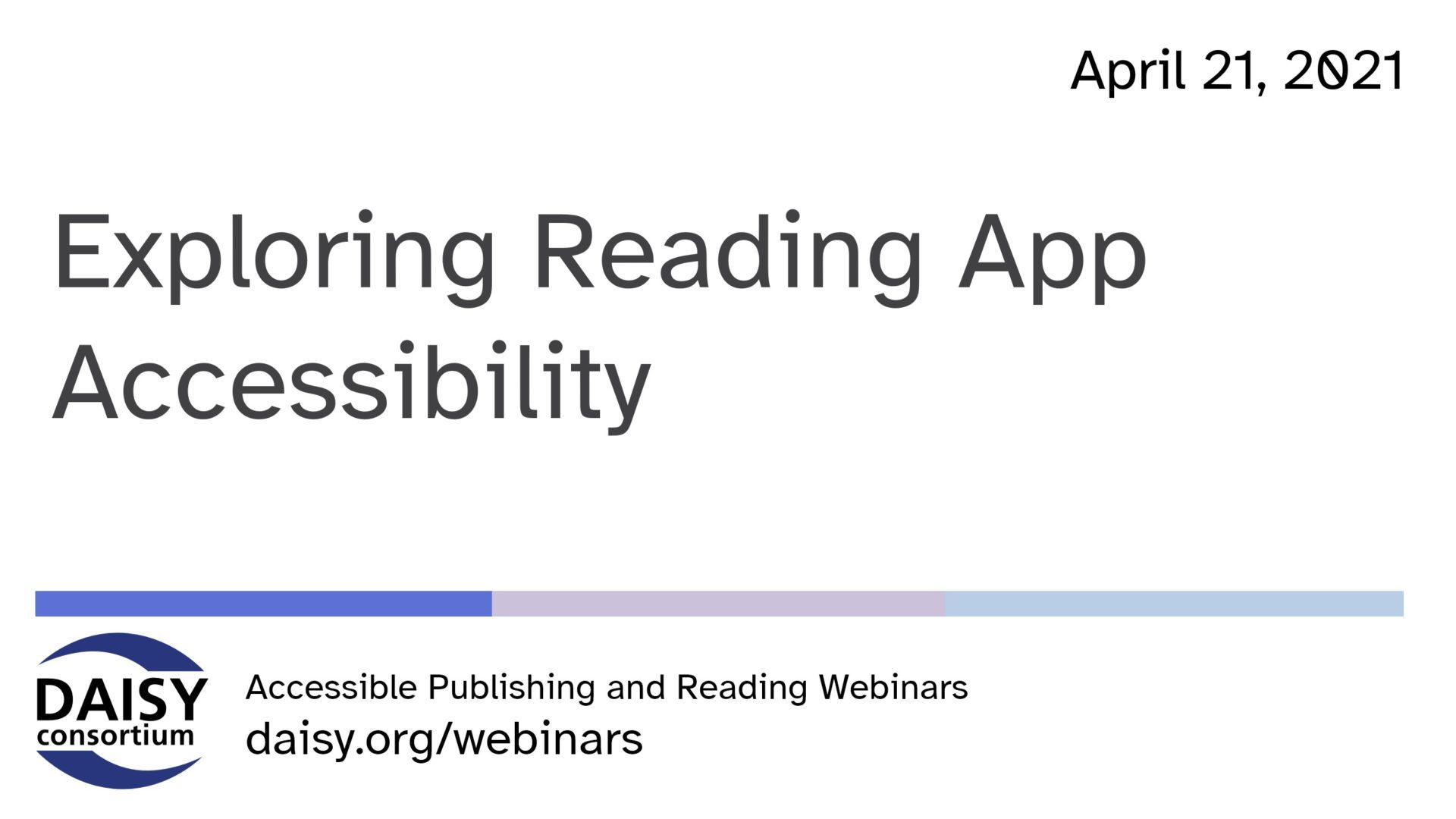 Exploring Reading App Accessibility title slide