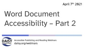 Word Document Accessibility Part 2 opening slide